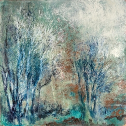 Christine Shannon Aaron Mixed Media Work lithograph, asian paper, encaustic on patinated copper