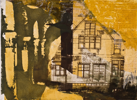 Christine Shannon Aaron Work on Paper lithographic monoprint, asian paper, chine-colle