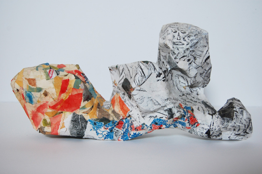 christopher patch sculpture paper mache, grave rubbings, watercolor and printed papers