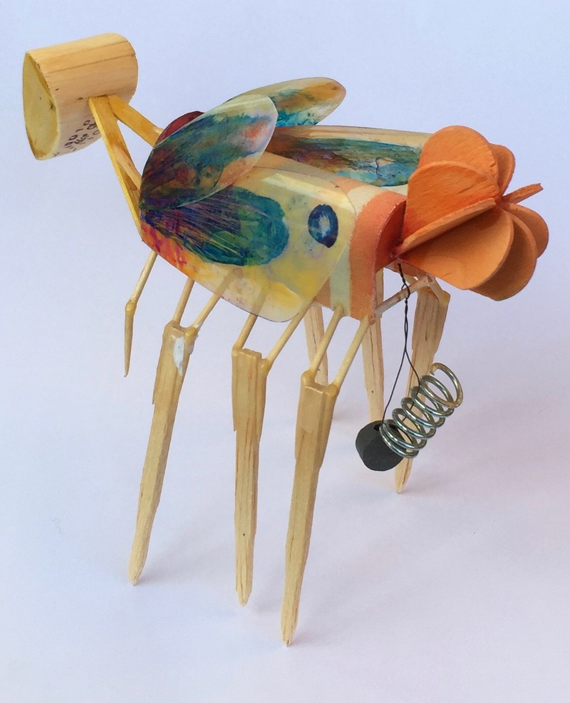 Christopher Croft Insect Studies Modelling Spruce, Toothpicks, Balsa Wood, Cellophane, Acrylic Paint, Cloth