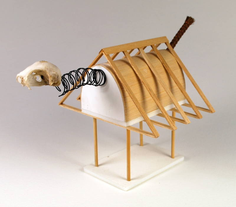 Christopher Croft Wild Houses Modelling Spruce, Japanese Brush, Foam-core, Book-binding Wire, Bird Skull (part)