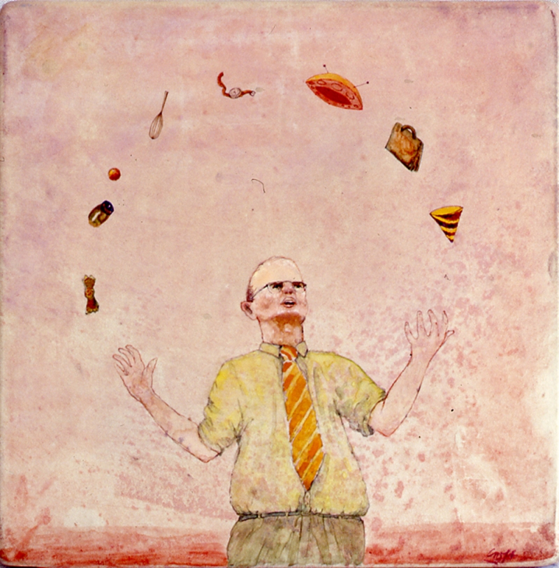 Christopher Croft Jugglers Watercolour on Vellum