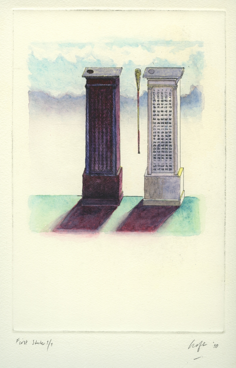 Christopher Croft Skopelos Series Single-Plate Etching, Hand-Coloured (watercolour)