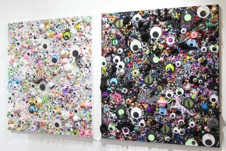 christybomb googly eyes Mixed media on custom wood panel