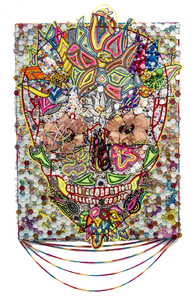 christybomb sugar skulls Mixed media on canvas