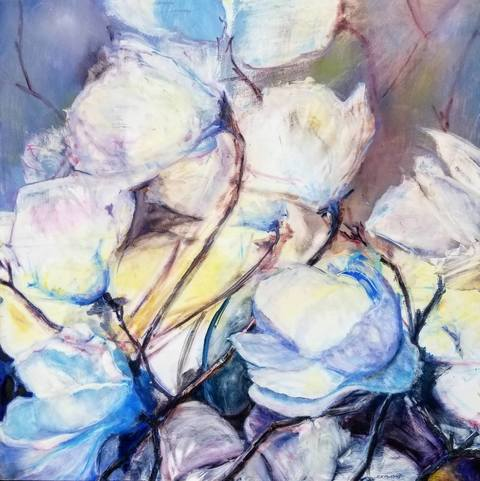 Cynthia K Mullins Contemporary Florals oil on wood