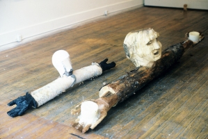 Cindy Tower Happenings/Performed Sculpture Chain-sawed and burnt wood , wax, candles