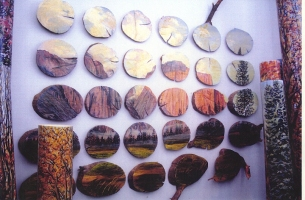 Cindy Tower Landscapes/National Parks oil on log slices