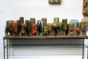 Cindy Tower Tree Paintings Oil on sandblasted bottles on steel and wood base