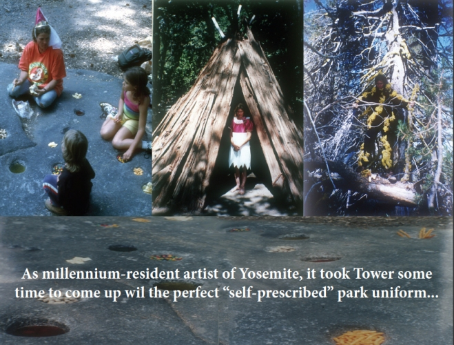 Cindy Tower Happenings/Performed Sculpture Posing as a Miwok, Native to Yosemite, and