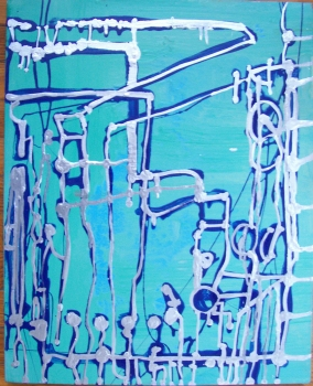 "Cindy Tower ""Workplace Paintings"" Enamel on canvas"