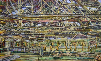 "Cindy Tower ""Workplace Paintings"" Oil on upholstery material"
