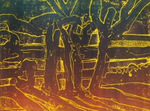 Claire Rosenfeld Prints monotype on viscosity etching