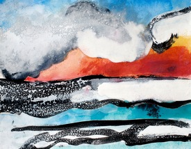 Claire Rosenfeld Ocean and Swimmers Ink, watercolor and encaustic on paper