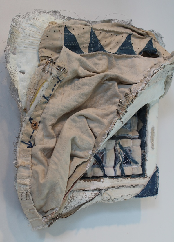 Clare Murray Adams Sculptural  Work sculptural relief on wood and wire structure with hydrocal, fabric and encaustic paint