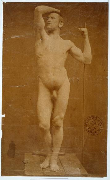 "Drawings and Prototypes Auguste Neyt, Model for ""The Age of Bronze"" photographed by Gaudenzio Marconi"