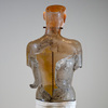The Human Form Cast glass, powder coated steel base, gold leaf, iron rod and chain, iron weight, rubber, wood, oil paint