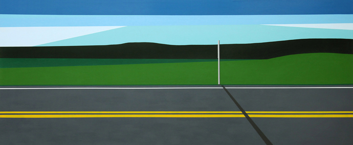 Cody Justus signs and roadscapes acrylic on canvas