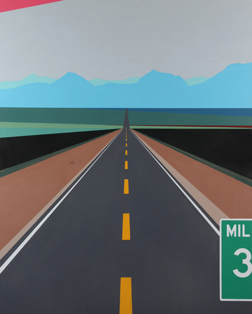 Cody Justus signs and roadscapes acrylic and graphite on canvas