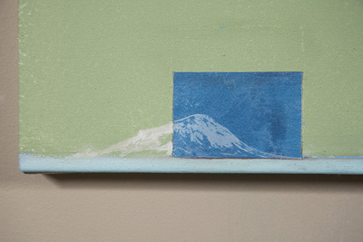 Cody Justus signs and roadscapes acrylic, oil, cyanotype collage on canvas