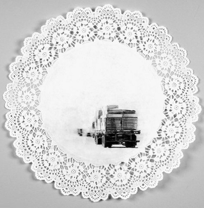 COLLEEN KIELY On the Road Graphite on paper doily