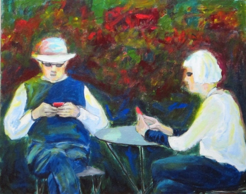 """Conversations"" acrylic on canvas"