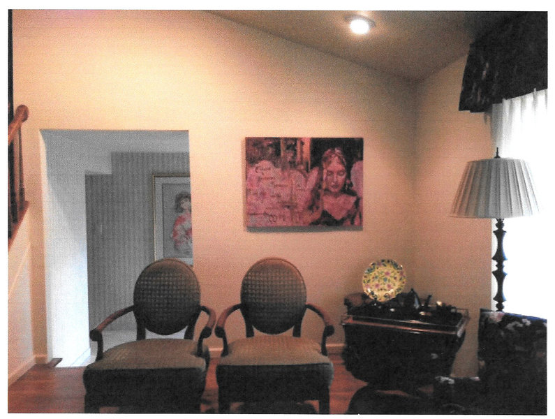 "My work installed in homes  ""Shadows at Evening"" in dining room"