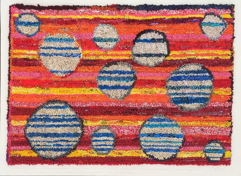 constance old stripes and circles mixed paper, plastic, wool and silk on construction fencing