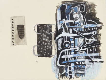 Marcia Cooper POST INDUSTRIAL WORKS, 1990's Mixed media; Ink wash, gouache, metallic paint
