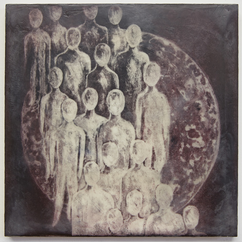 CORINA.- Mirrors and Windows Silk Aquatint and encaustic, ink, charcoal, paper on panel