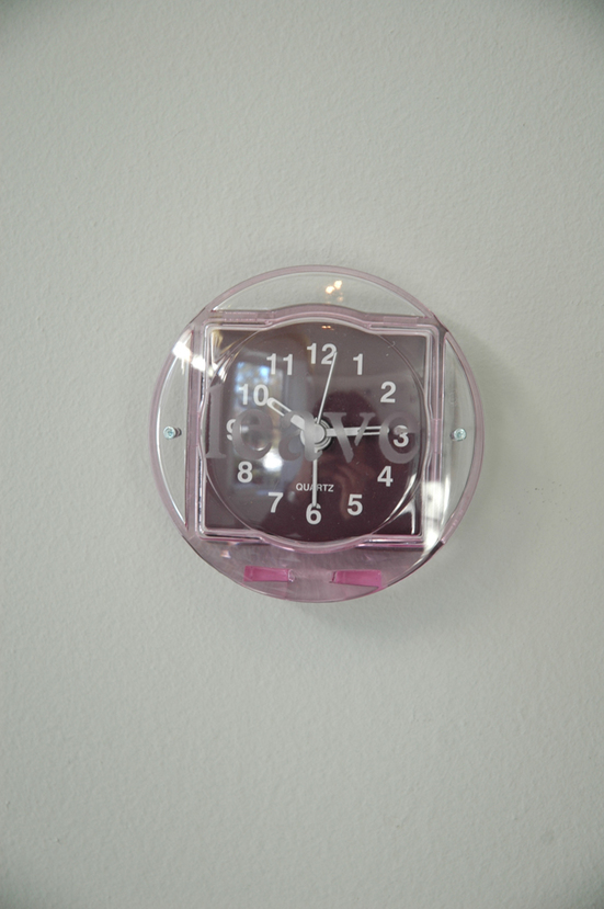 Cristina de Gennaro Janus Doorway Alarm clocks, mirrors, wish bones, spray paint, watercolor paint, audio.