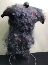 Sandra Maresca Spirit Totems polymer clay, needlefelted collie fur and wool