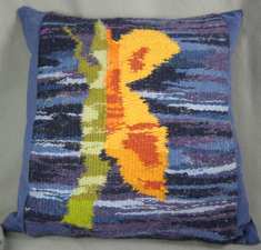 Sandra Maresca Fiber accessories for home and apparel Handwoven wool tapestry