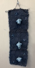 Sandra Maresca Wall Hangings hand woven with hand-spun wool + polyner clay dog heads