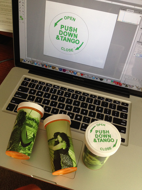 Push Down & Tango PUSH DOWN & TANGO sticker design seen in progress.