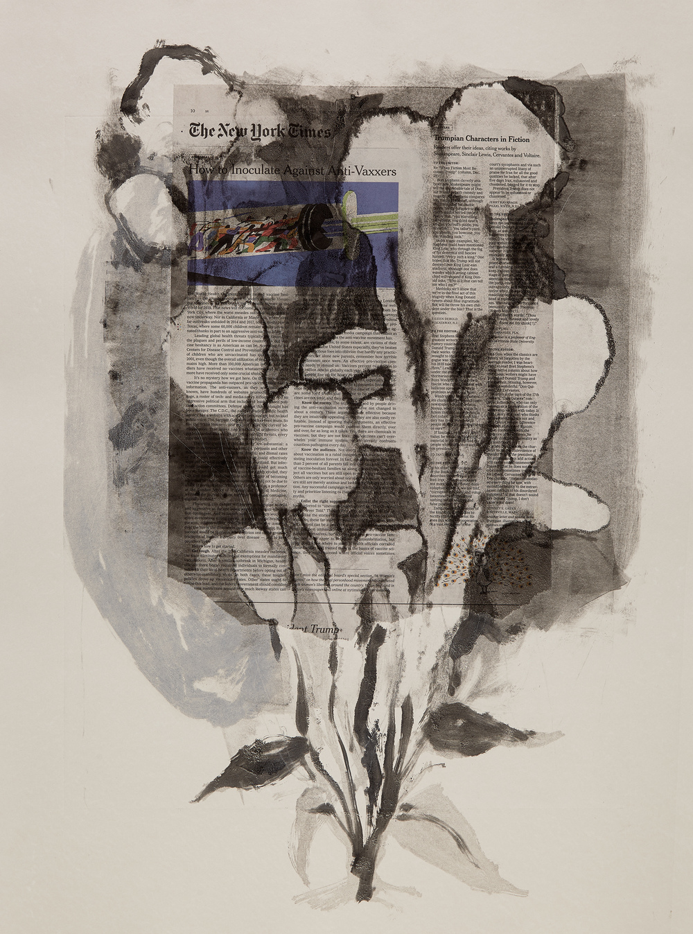 Cynthia MacCollum Ephemera Monotype with chine collet