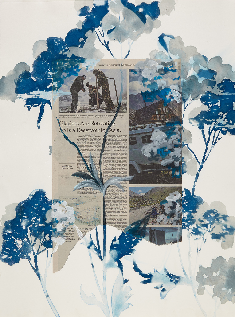 Cynthia MacCollum Ephemera Cyanotype, ink, acrylic, New York Times on BFK