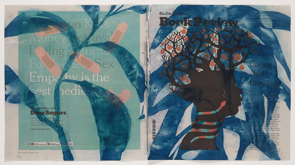 Cynthia MacCollum Ephemera cyanotype on New York Times