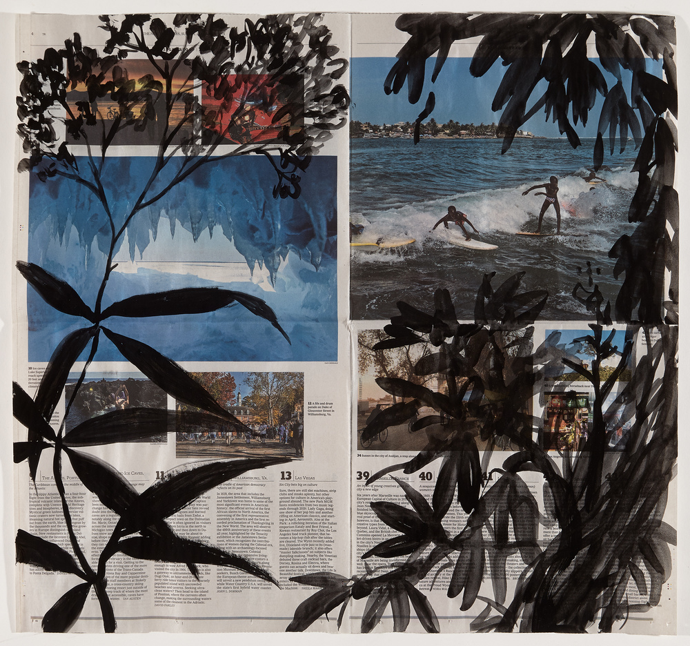 Cynthia MacCollum Ephemera Flashe paint and ink on New York Times