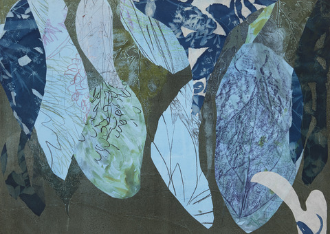 Cynthia MacCollum Flowerpower Mixed Media Monoprint