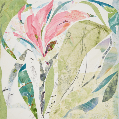 Cynthia MacCollum Flowerpower Mixed Media Monotype