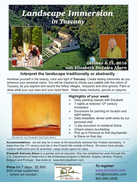 Elizabeth DaCosta Ahern Painting Workshop Landscape           Immersion in Tuscany
