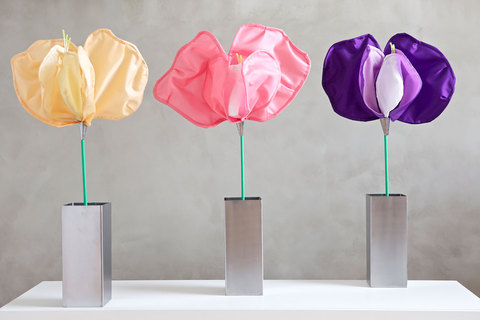 Daina Shobrys Sweet Peas Plastic banner fabric, beeds, heat-shrink tubing, galvanized wire, pastry tube.