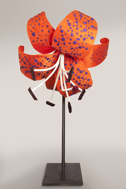 Daina Shobrys Lilies Banner fabric, beads, heat bent pvc pipe, galvanized wire, ping pong balls, adjustable hose clamps.