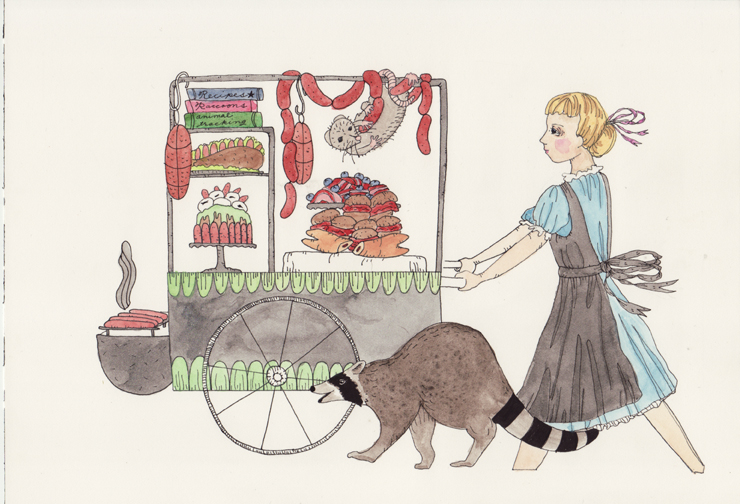 Watercolors Wild Animal's Food Cart