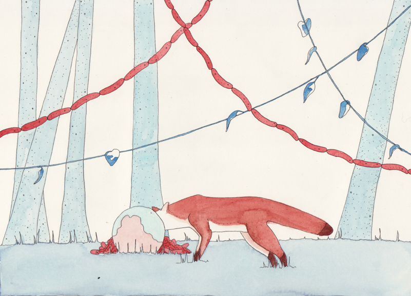 Watercolors Fox with Cake and Sausage