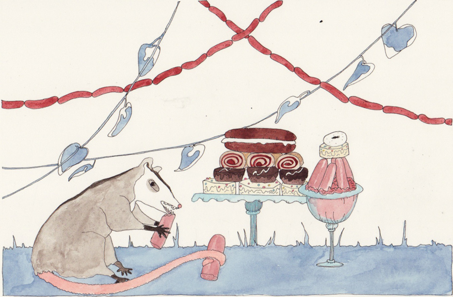 Watercolors Possum with Cake and Sausage