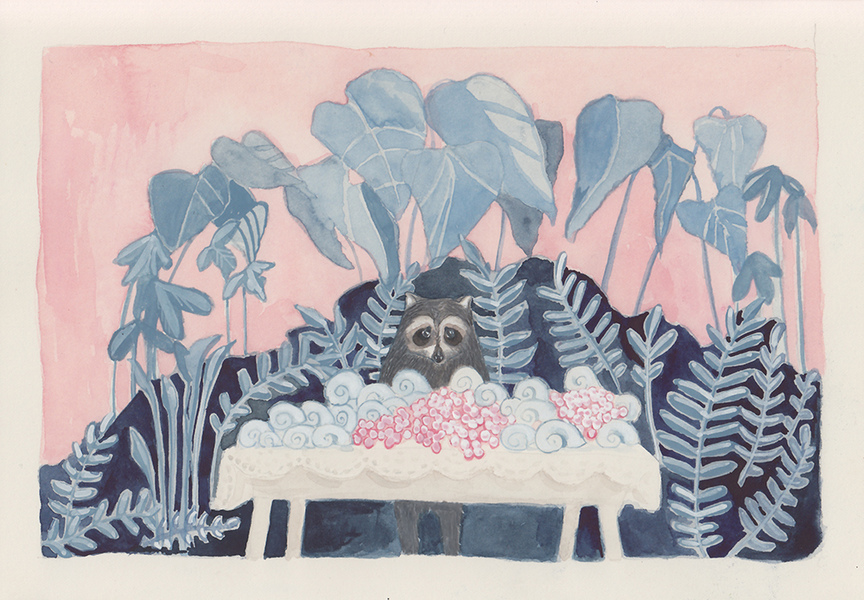 Watercolors Raccoon Amongst Snails