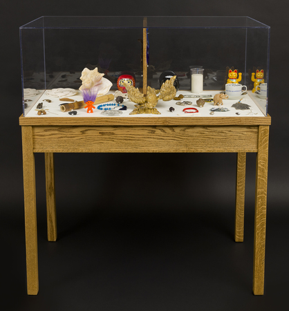 Daniel A Bruce Cannon's Walk collection of 100 mixed media objects, wood, plexiglass, silk moire fabric