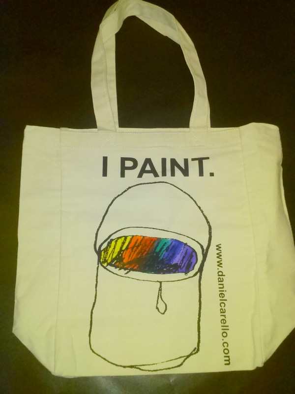 Daniel Carello Merchandise Silkscreen & fabric paint on cotton tote bag